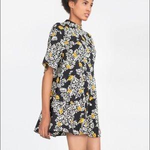 ZARA black and white floral mini dress